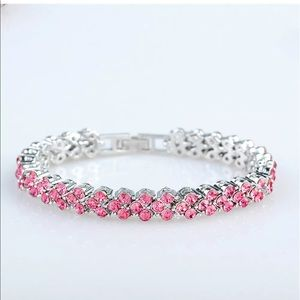 Pink Topaz CZ & White GP Tennis Bracelet
